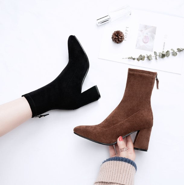 Chunky Heel Suede Boots US3(eu33) For Sale