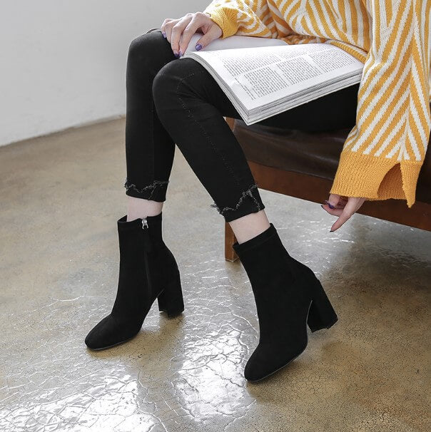796f75c1e56 Petite Chunky High Heel Side Zipper Ankle Boots AS47 - AstarShoes