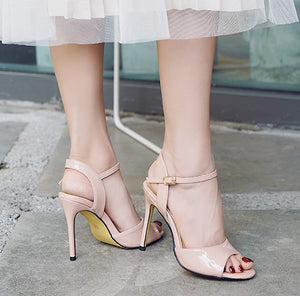 Petite Peep Ankle Strap Patent Sandals SS353