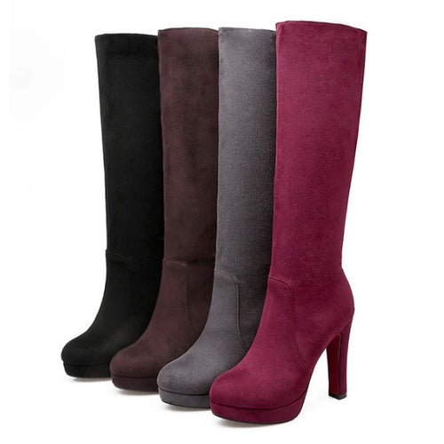 Petite Size Platform High Heel Under Knee Boots AP127