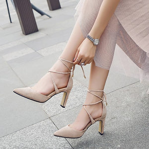 Petite Pointed Criss Cross Strap Heeled Sandals SS269