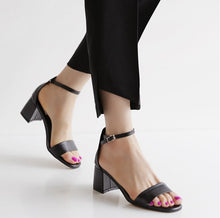 Ladies Petite Size Block Heels Ankle Strap Sandals SS109