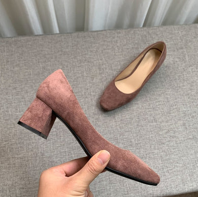 Petite Size Suede Leather Pump Shoes AP179