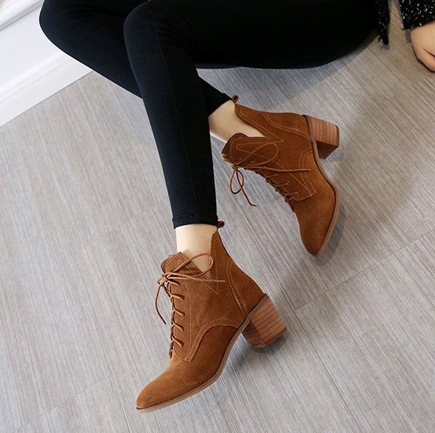 Petite Size Suede Leather Short Boots AP71