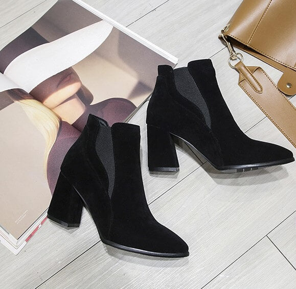 8af4ebcb7d7 ... Petite Size 3 Chunky Block Heel Booties For Small Feet Ladies ...
