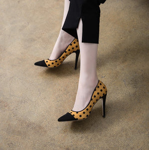 Petite Size Leather Heel Pumps For Small Feet SS386