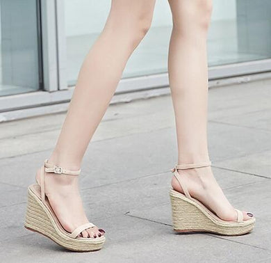 Nude Platform Wedge Sandals Sale US4(EU34)