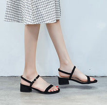 Petite Size Block Low Heel Open Toe Sandals June