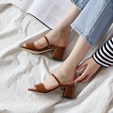 US4(eu34) Brown Block Heel Sandals Sale