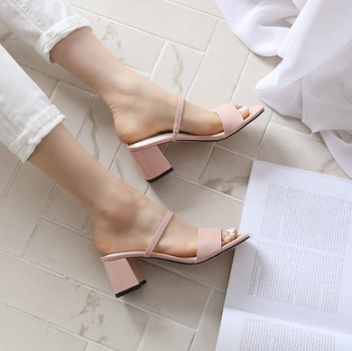 US4(eu34) Nude Pink Block Heel Sandals Sale
