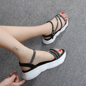 Petite Soft Thick Sole Rhinestone Sandals SS339