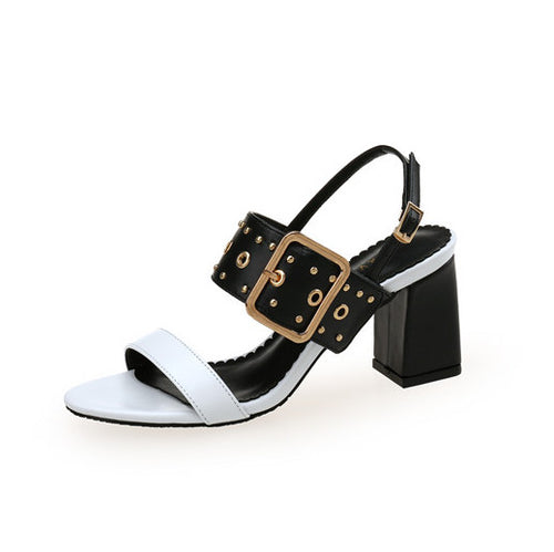 Petite Stud Buckle Strap Open Toe Sandals BS79