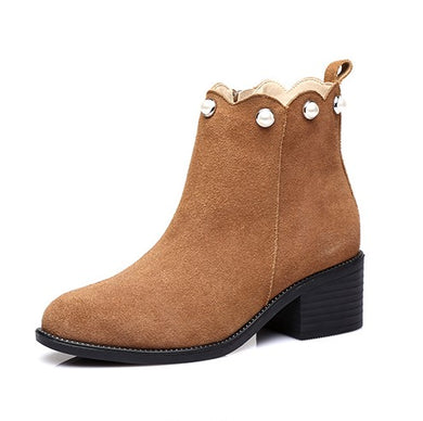 Petite Suede Leather Short Boots AP216