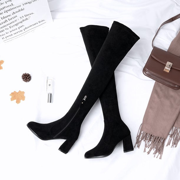 ded7d656422a ... Petite Women s Block Heel Thigh High Over Knee Boots Size ...