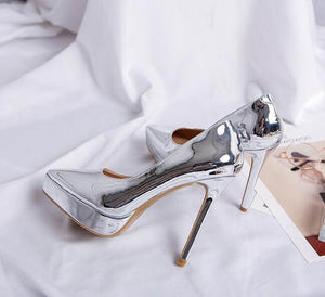 Petite Women's Pointed Platform High Heel Metallic Leather Pumps In Silver
