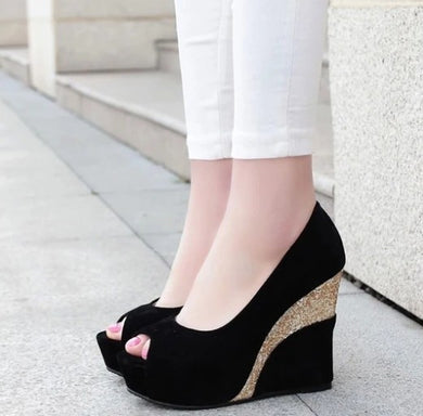 Peep Wedge Shoes Black  US3(eu33) Sale