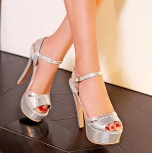 Silver Platform Heeled Sandals Sale US3(eu33)