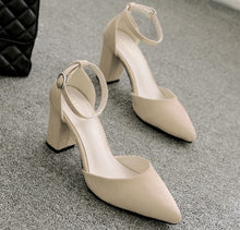 Petite Size Block Heel Pointed Sandals Jennifer