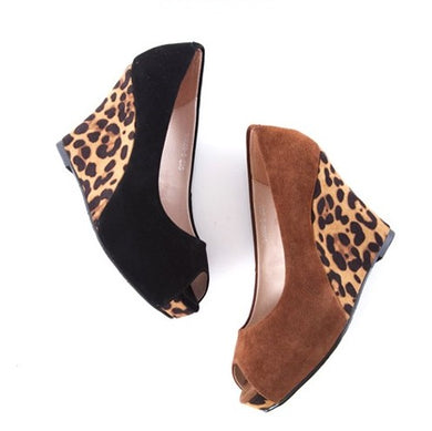 Small Feet Leopard Peep Wedge Shoes DS193