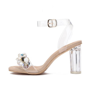 Small Feet Pearl Clear Strap Sandals DS197