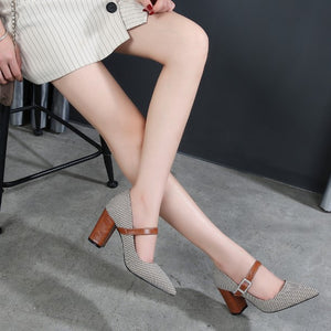 Block Heel Mary Jane Pump Shoes BS258