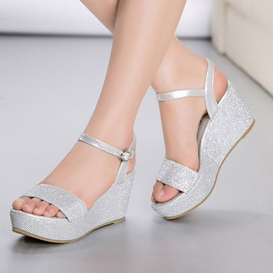 Small Size Glitter Platform Wedge Sandals DS226