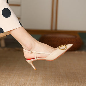 Small Size Mid Heel Slingback Shoes For Women DS170