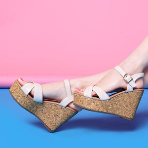 Small Size Patent Wedge Heel Sandals BS225
