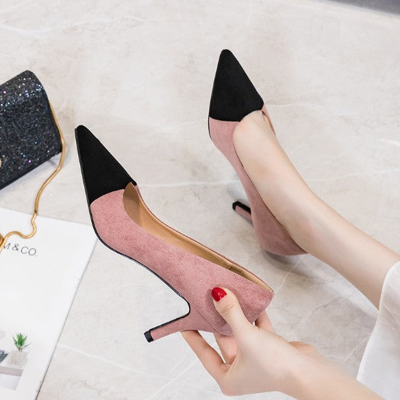 Small Size Pointy Suede Heel Pumps BS130