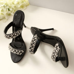 Small Size Rhinestone Slip On Sandals BS153
