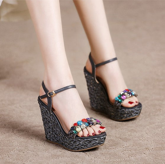 fb531f03e57 Small Feet Girls Rhinestone Wedge Sandals SS257