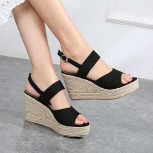 Small Feet Ladies Summer Peep Wedge Sandals SS118