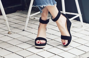 Small Feet Wedge Heel Platform Sandals With Ankle Strap US size 2