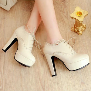 Small Feet Chunky Heel Platform Booties Lace Up Pump Shoes AS283
