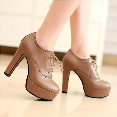 Platform Booties Lace Up Pump US4(eu34) For Sale