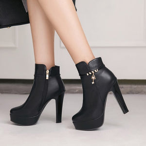 Small Feet Platform Chunky High Heel Zipper Short Boots AS211