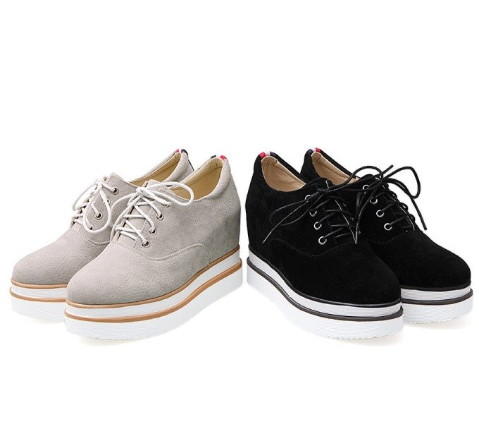 Small Feet Women's Thick Sole Height Increase Lace Up Sneakers AS287