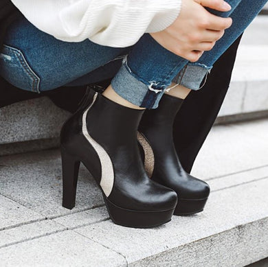 Small Size Platform Chunky High Heel Boots AP153