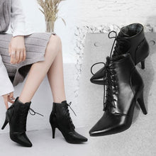Small Size 2 Women's Lace Up Heeled Ankle Boots