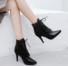 Small Size 32 Women's Lace Up Heeled Ankle Boots