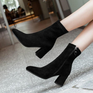 Small Size 34 Elastic Boots Short Women's Small Feet Ankle Boots