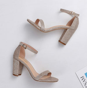 Small Size Block Heel Ankle Strap Sandals SS352