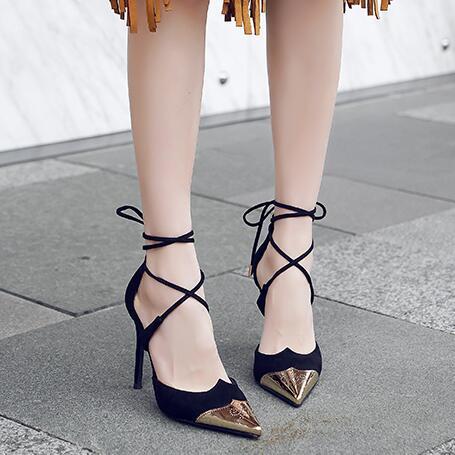 Small Size Cross Strap Heeled Sandals BS96
