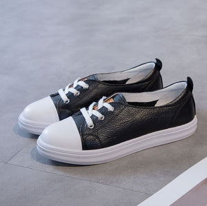 Small Size Lace Up Leather Sneakers AP181