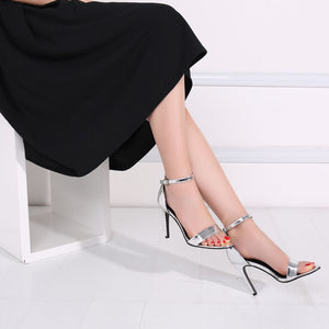 Small Size Open Toe Strap High Heel Silver Dress Sandals US 2