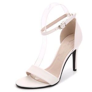 Small Size Open Toe Strap High Heel Silver Dress Sandals US 4