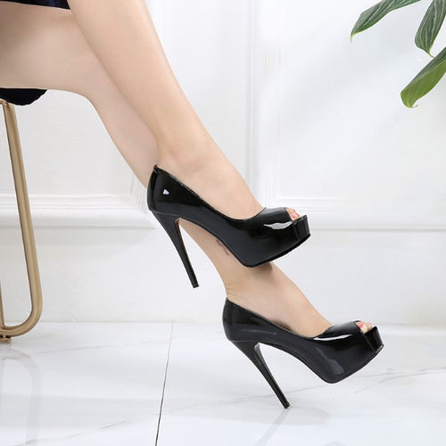 Small Size Patent Peep High Heels AP223