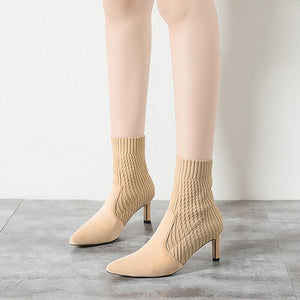 Small Size Pointed Sexy Heeled Short Boots AS50