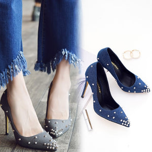 Small Size Rockstud Pointy Pump Shoes SS355