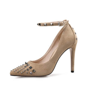 Small Women Heel Pumps Chicago Size 2-EMILY BEIGE